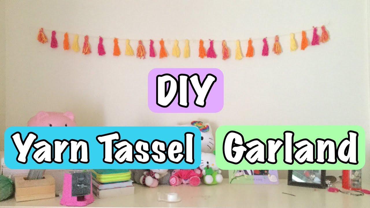 Diy Yarn Tassel Garland Room Decor Randomnesswithc Youtube