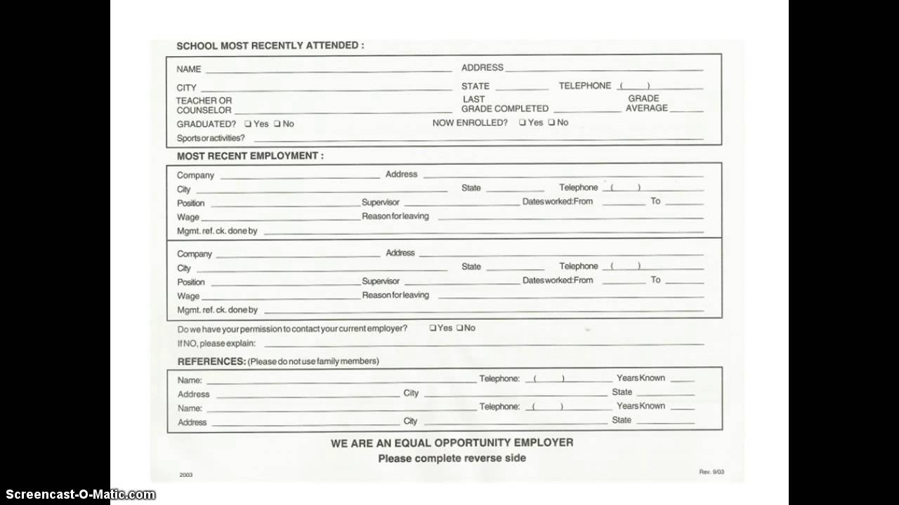 fill out application