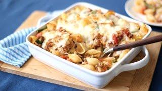 Sausage, Mozzarella, and Broccoli Rabe Baked Pasta