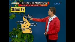24 Oras: Bagyong Basyang, bukas na inaasahang tatama sa Surigao Del Sur