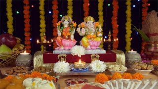 Beautiful temple/Puja Ghar of Hindu gods Ganesh Ji and Laxmi Ji on Diwali - the festival of lights