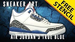 Sneaker Art: Air Jordan 3 True Blue w/ Downloadable Stencil