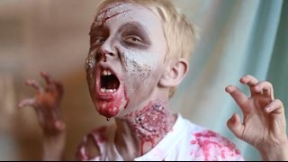 How To Make A Kid Zombie Costume and Makeup! DIY Latex