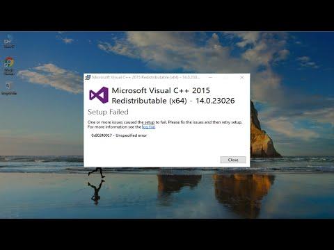 How To Fix Microsoft Visual C++ 2015 Redistributable Setup Failed Error 0x80240017