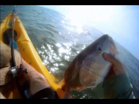 Kayak Fishing Amateur Hour - Galveston Texas Bullreds in the Surf!
