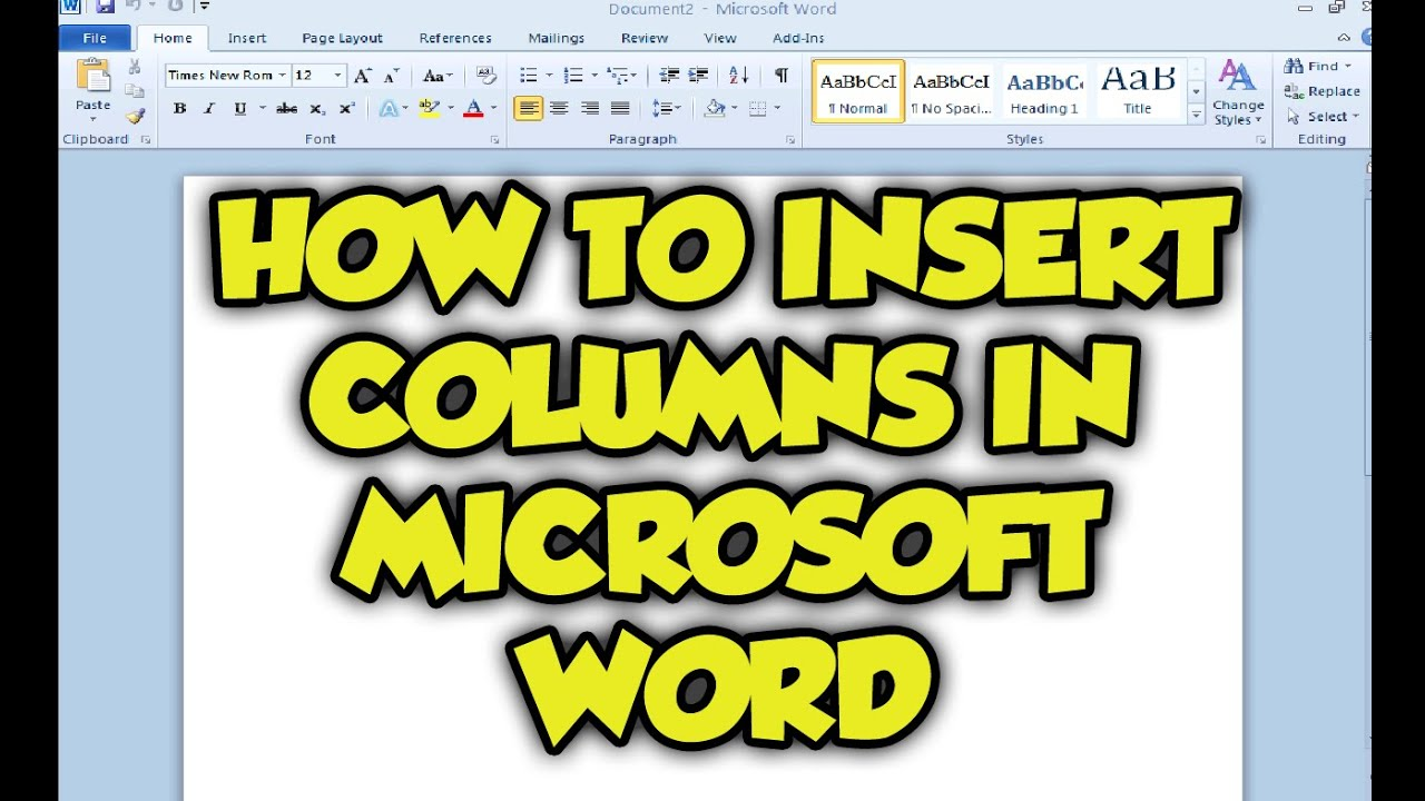 how to insert columns in microsoft word 2015  making columns in word 2010 tutorial