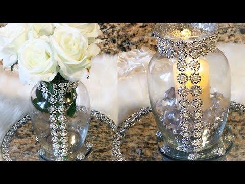 Silver Diamond Wrap & Pearl Centerpiece #diycrafts #diylifestyle #homedecordiy #blingismything