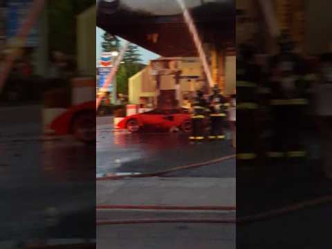 Lambirguini on fire at the woodside gas station in redwood city ca