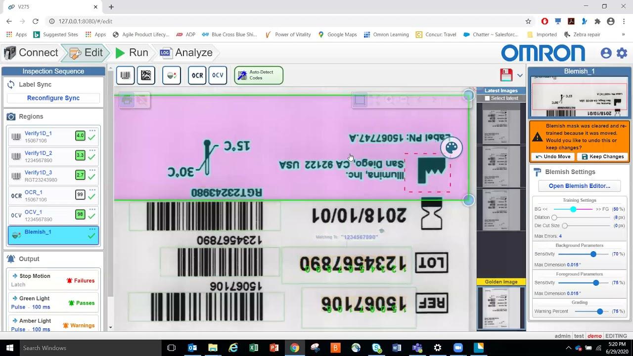 OMRON's V275 Product Demonstration on the Zebra ZT610 Printer