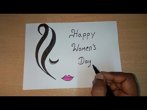 Women's Day Drawing & Greeting Card  | Womens Day Special | How To Draw Happy Women's Day