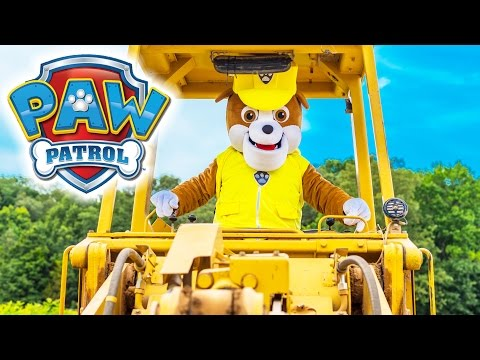 PAW PATROL Nickelodeon Rubble and His Digger Paw Patrol in Real Life Funny Kids Live Action Video
