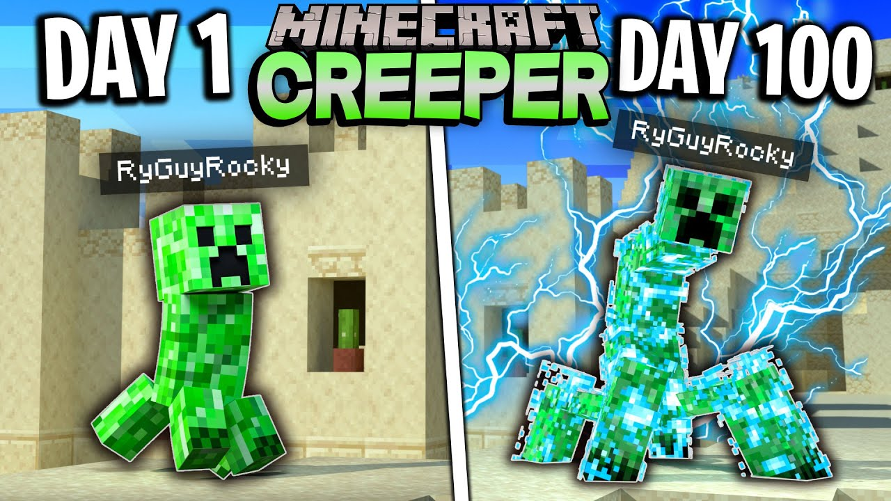 I Survived 100 Days as a CREEPER in Minecraft