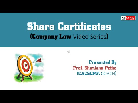Companies Act 2013 (Chapter 12) - Share Certificates - YouTube - Company Share Certificates