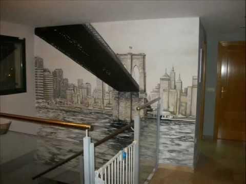 Mural pintado en pared puente de brooklyn youtube - Pintado de paredes ...
