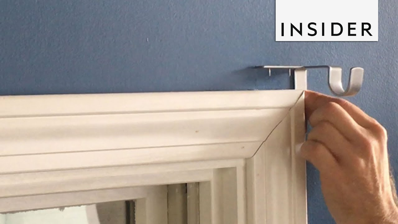 how to hang curtains without holes in the wall
