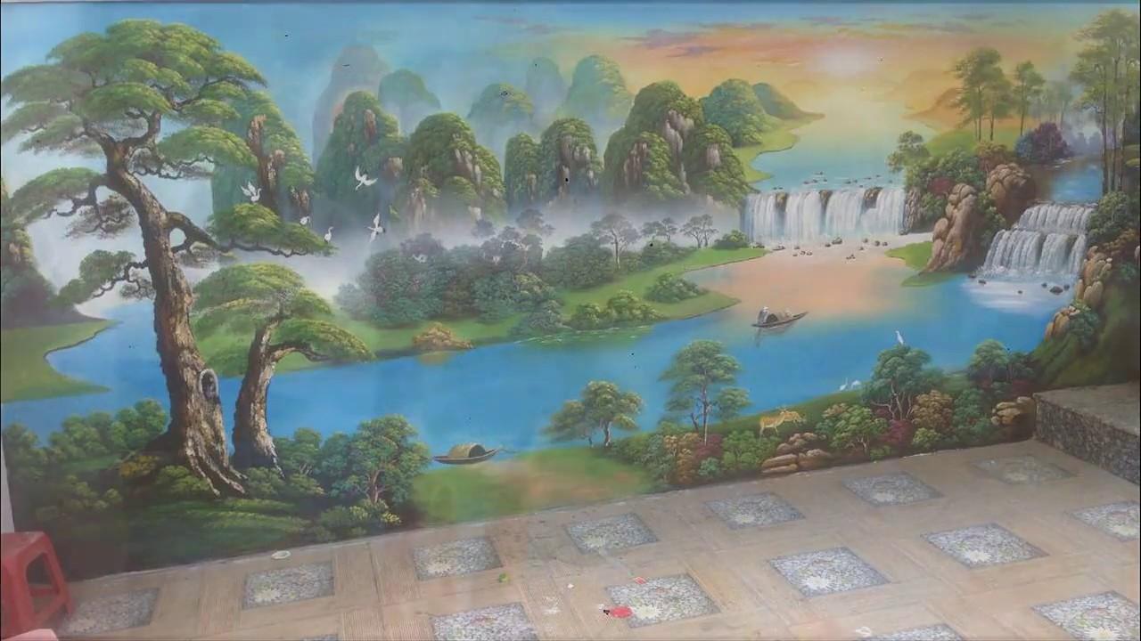 Vẽ tranh tường phong cảnh trong sân vườn tại Hai Bà Trưng, Hà Nội – Vẽ tranh nghệ thuật cực đẹp LH Z