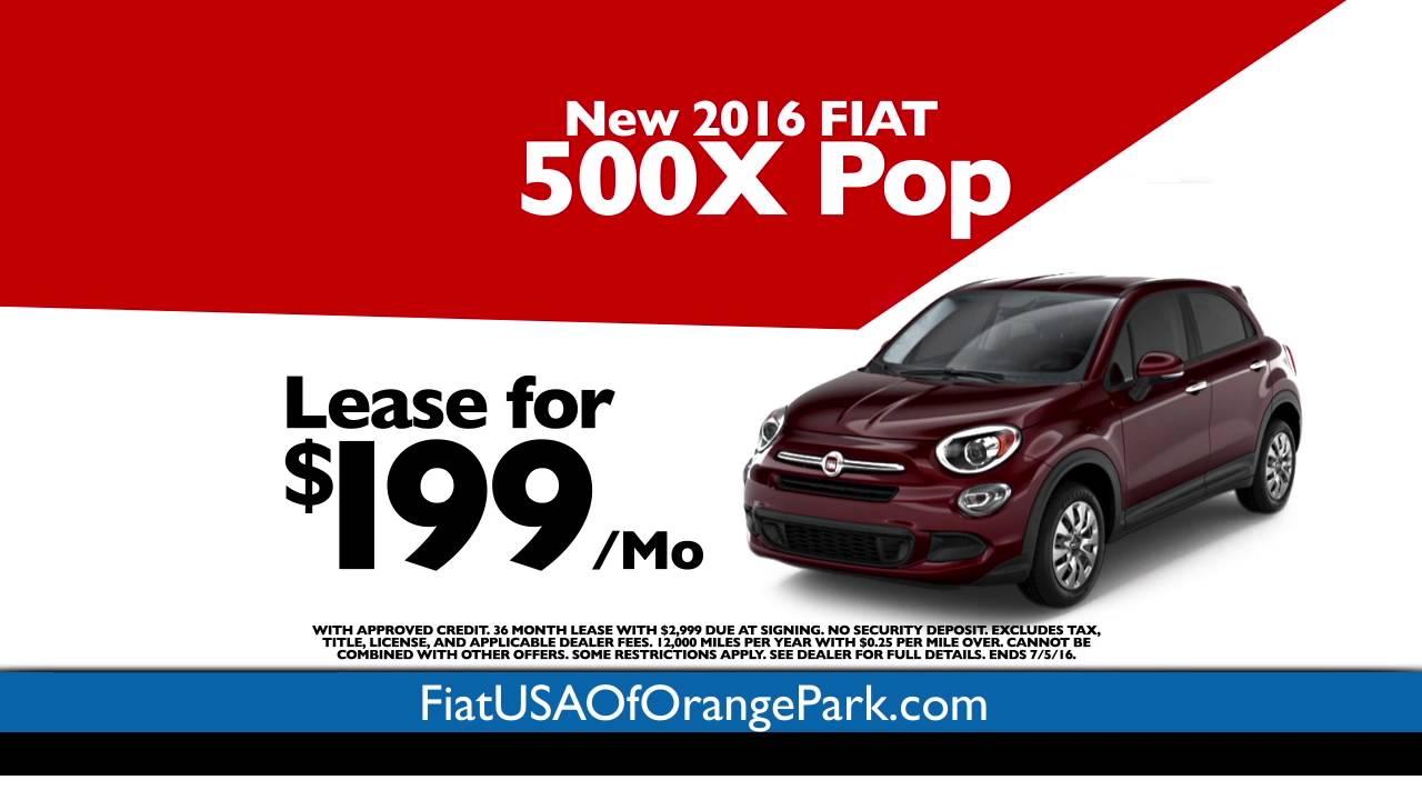 fiat of orange park - lease the 2016 fiat 500x pop for $199/month