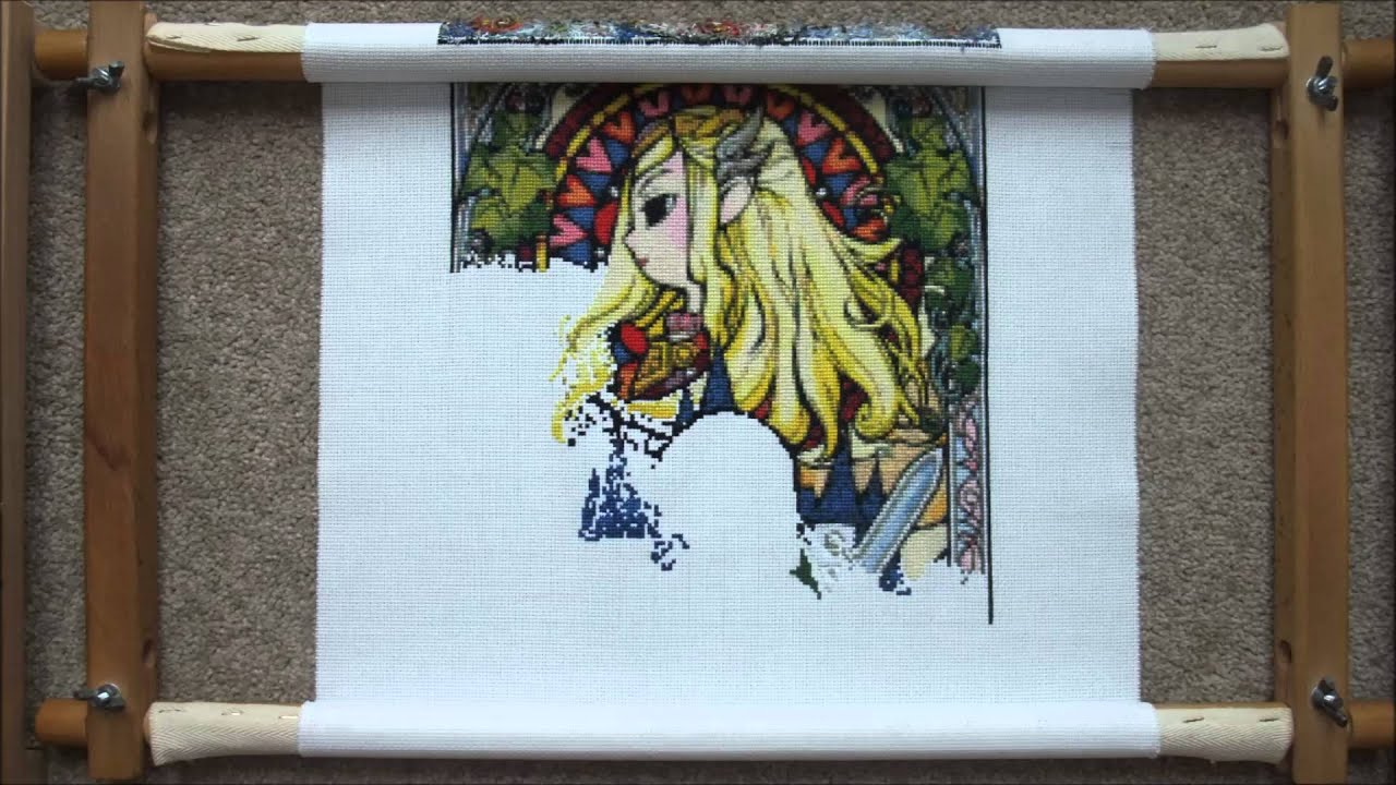 Zelda Stained Glass Window Cross Stitch Youtube