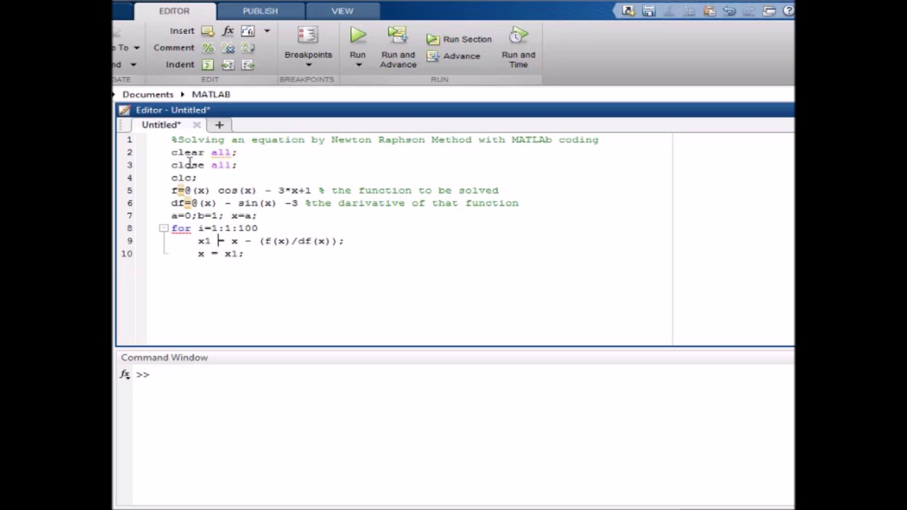 Newton raphson method with matlab coding - full explanation part-2