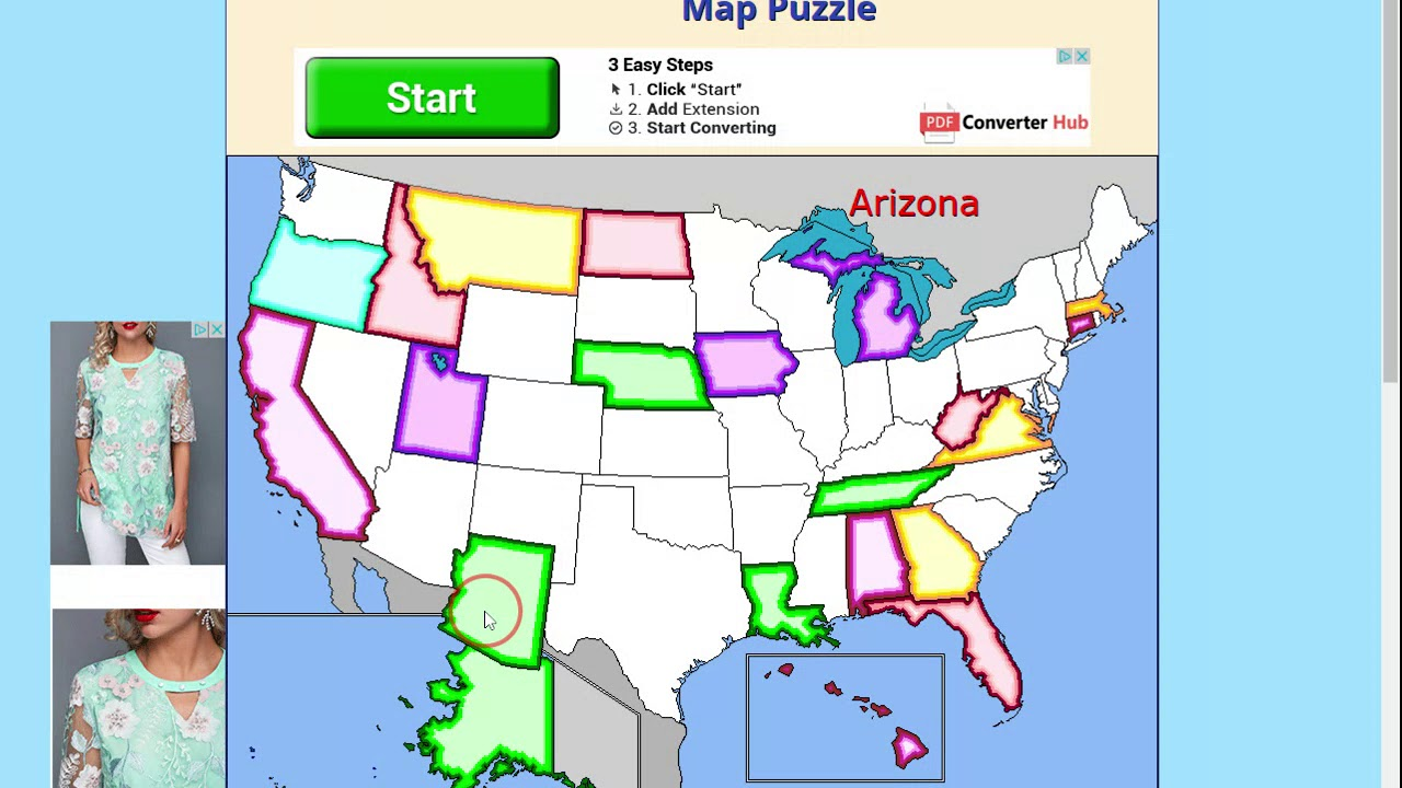 United States Map Puzzle Us States And Capitals Youtube - Puzzle-us-map