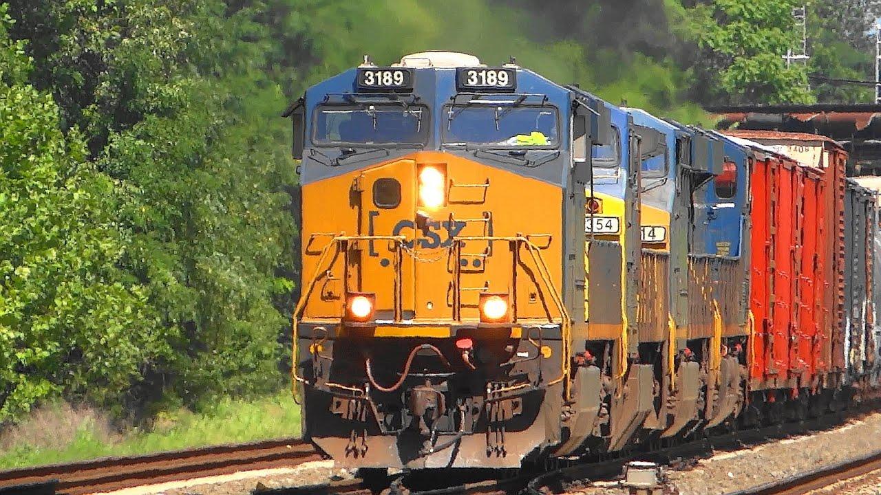 Four-Engine CSX Diesel Freight Train In St Denis - YouTube