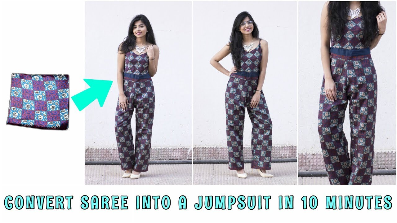 db5dc6d9460f Convert Saree Into A Jumpsuit In 10 Minutes - YouTube