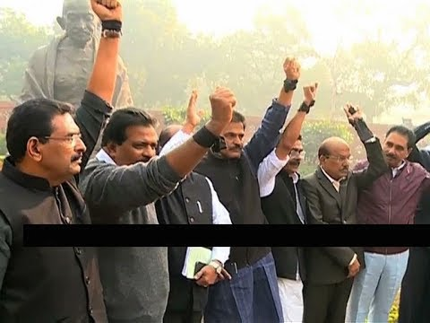 Kerala UDF MPs protest outside the parliament over Sabarimala Women entry issue