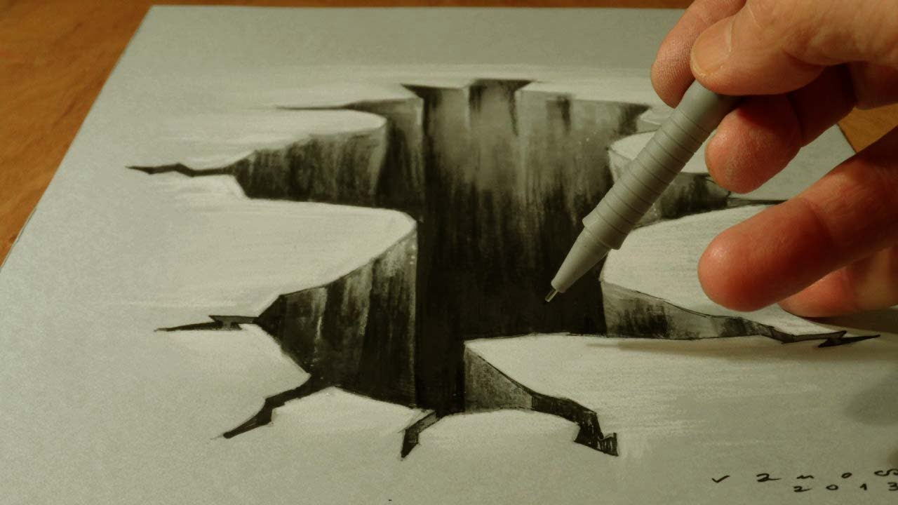 How to draw hole drawing 3d hole trick art on paper vamos youtube