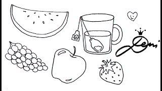 Wie zeichnet man 🍏 Tee ☕️🍓Erdbeeren 🍉Wassermelone Apfel Trauben