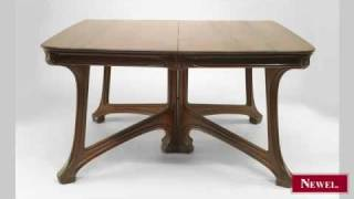 Antique French Art Nouveau Walnut 2 Section Dining Table