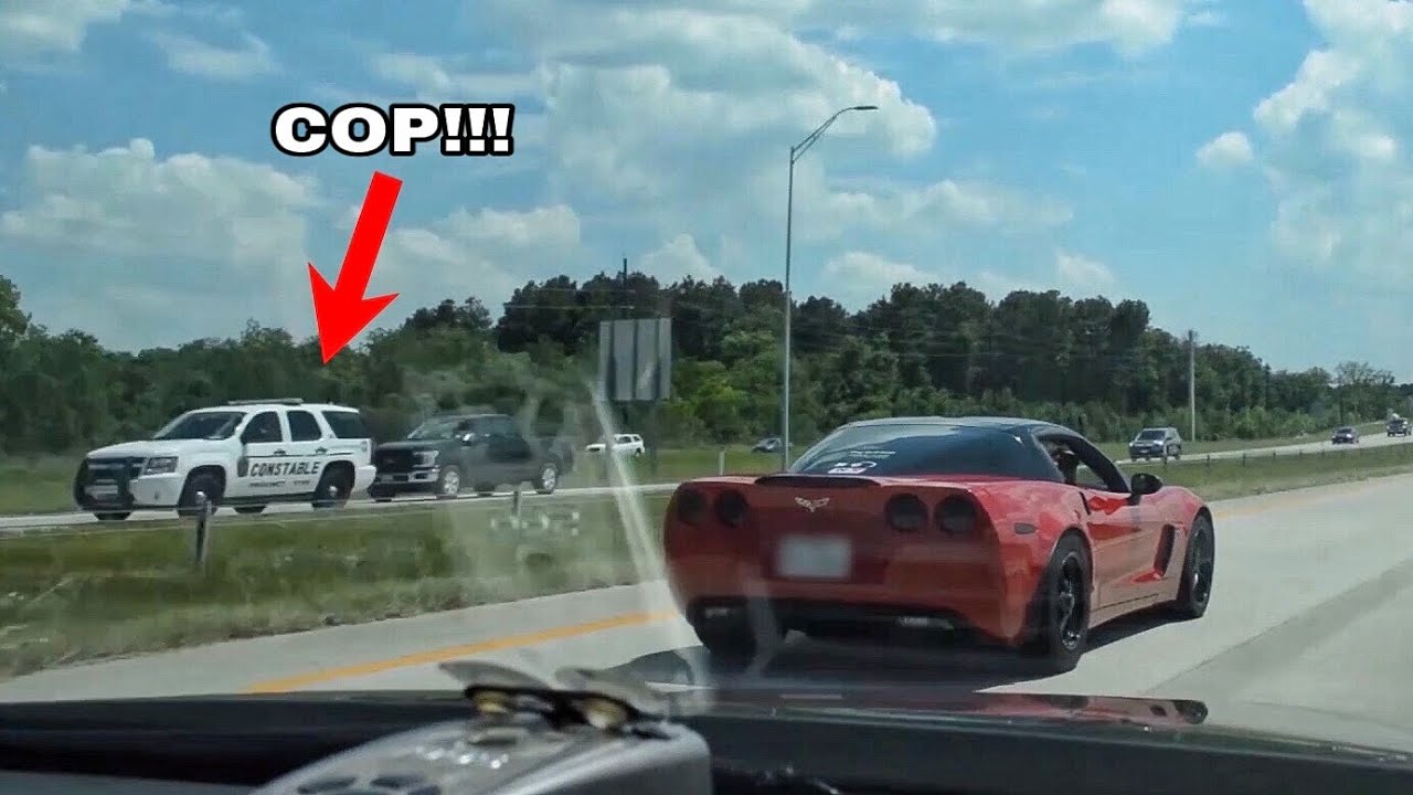 Racing in front of a COP!!! - 820hp ZR1, 750hp CTS-V & Nitrous Vettes!