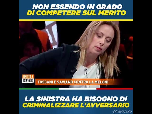 Giorgia Meloni: Non riuscendo a competere sul merito la sinistra deve criminalizzare l'avversario