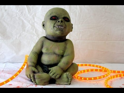Halloween Zombie Baby Prop.Spinning Head Possessed Zombie Baby Prop Halloween Fx Props