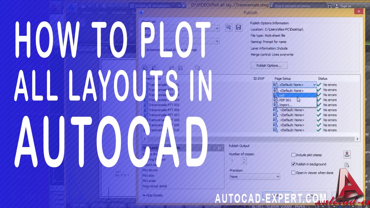 How to print all layout in autocad  Plot all layouts from one clikc in  autocad to PDF