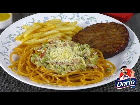 Spaghetti Doria Sabor Ranchero con salsa de Tocineta