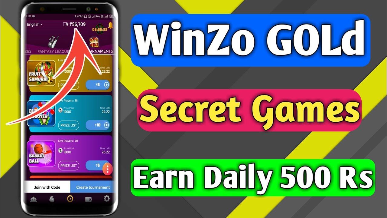 WinZo Gold Secret Gamea Earn Daily 500 Rs Paytm Cash 1 TrickySK