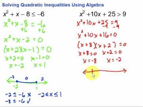 Solving Quadratic Inequalities Using Algebra - YouTube