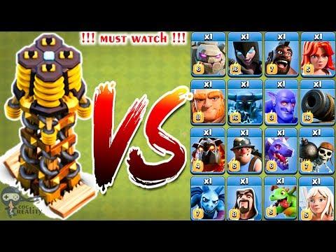 Max Tesla vs all Troops - Clash of clans   Hidden Tesla   Coc Reality