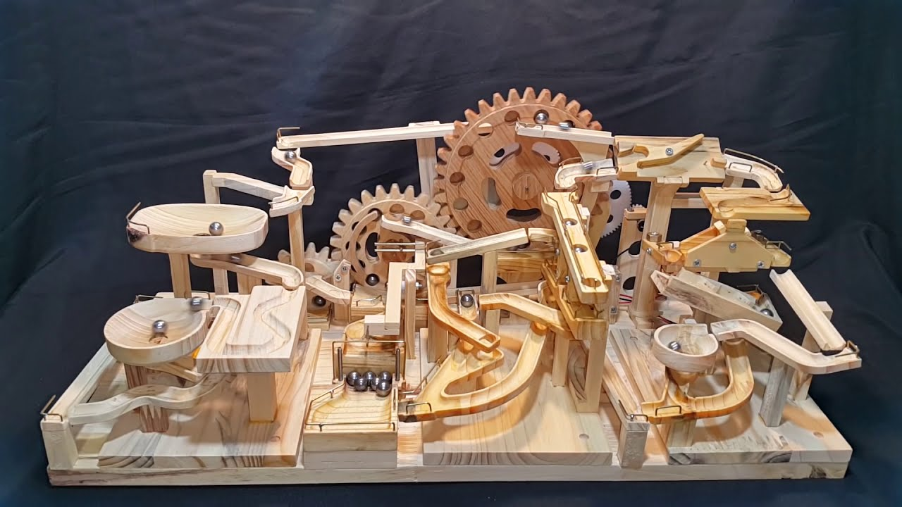 Marble Machine Triple Gears Lift Three Blocks Marble