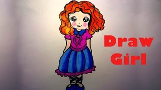 How to draw cute girl_ Draw easy cute gril_ How to draw girl for kids