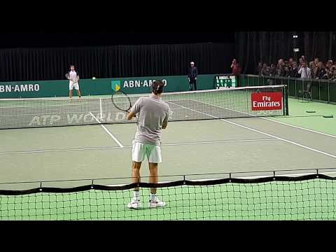 Training Roger Federer with F. Lopez in Rotterdam ABN-AMRO ATP 500