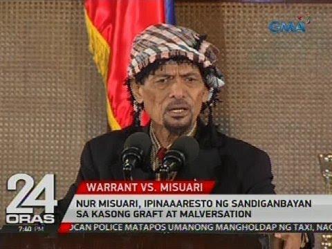 24 Oras: Nur Misuari, ipinaaaresto ng Sandiganbayan sa kasong graft at malversation