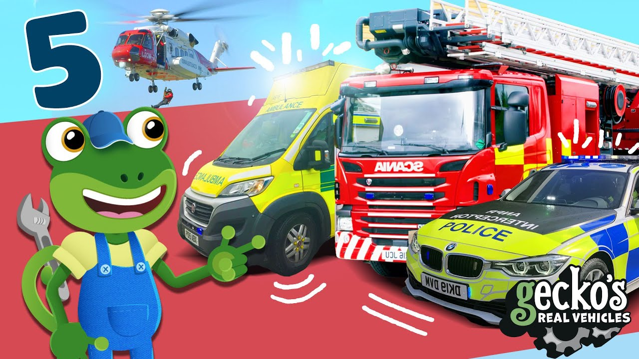 Gecko's Top 5 Emergency Vehicles|Trucks For Kids|Gecko's Real Vehicles|Learning & Educational Videos