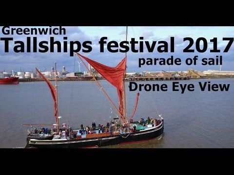 Tallships parade of sail- Greenwich Tallships Festival 2017 - DroneEyeView