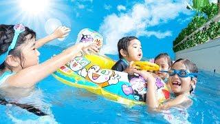 Kan & Akiの大好きなプール!アクアビートであそんだよ♪