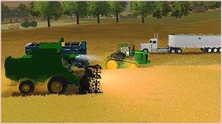 Мультик про грузовик, трактор и комбайн, которые собирают урожай пшеницы на поле(Мультик про работу сельскохозяйственной техники. На комбайне молотим пшеницу, затем высыпаем зерно с бунк..., 2016-10-22T05:00:01.000Z)