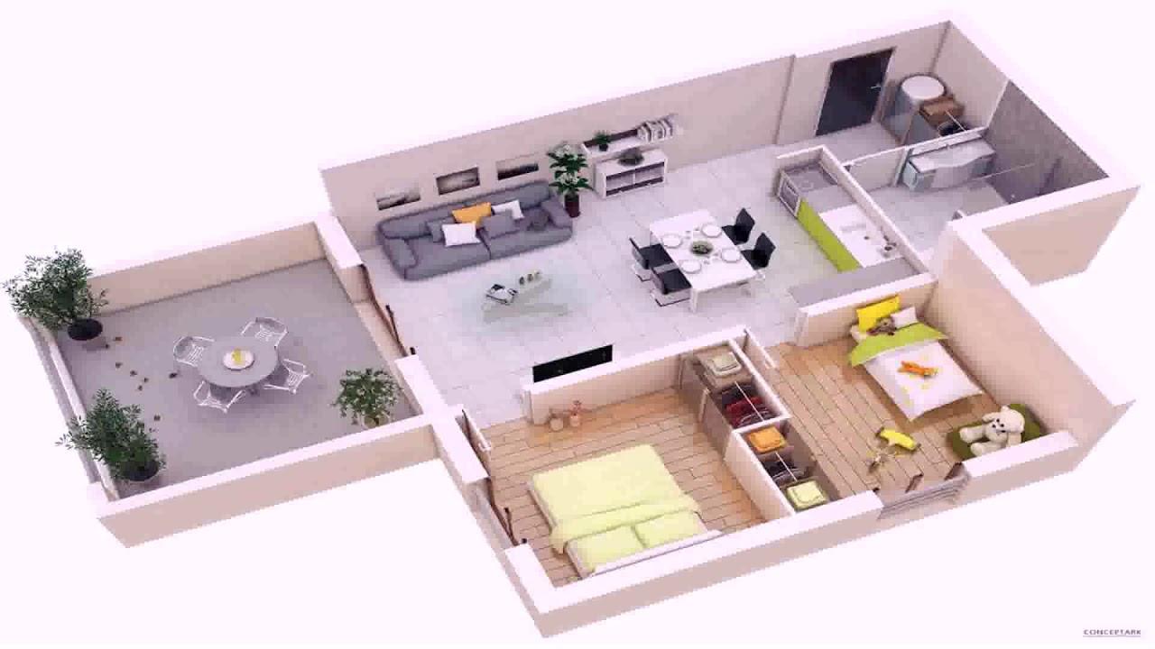 3 Bedroom House Floor Plans Single Story 3d - Gif Maker ...
