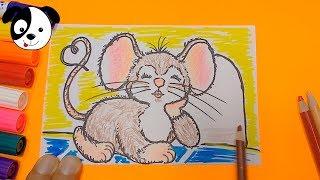 Como dibujar tierno ratón paso a paso/how to draw cute mouse/Art color kids