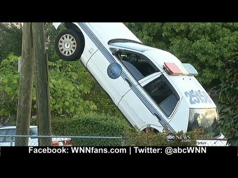 Miami Police Car Drives Up Utility Pole