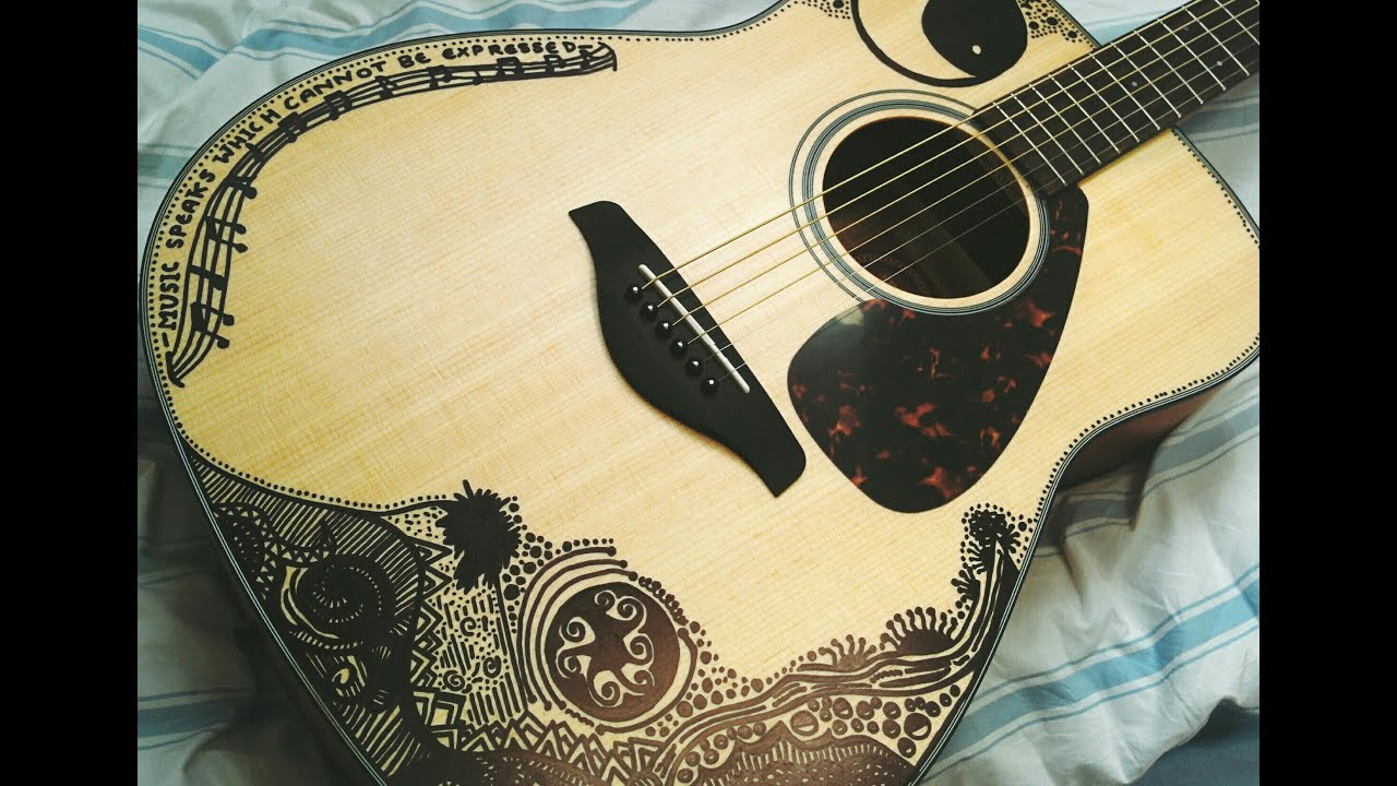 acoustic guitar sharpie art youtube